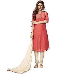 Payal Womens Party Wear Peach Kurta And Cream Churidar With Dupatta