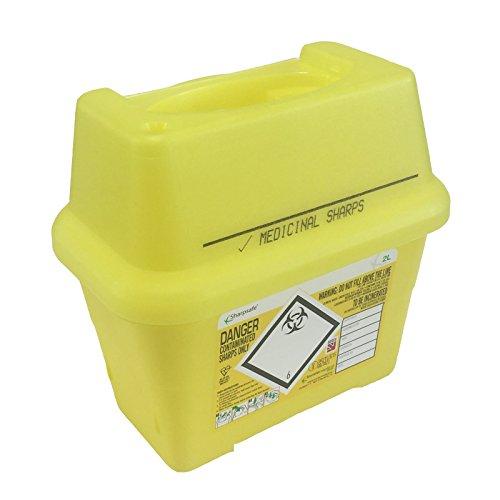2L Sharpsafe Jaune Bio Hazard Lame Seringue aiguille cliniques étiquetées déchets coupants Boîte Poubelles