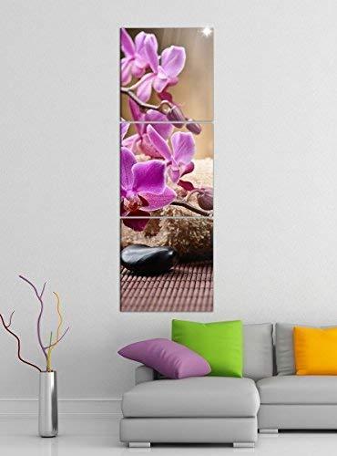 Leinwandbild 3tlg Wellness Steine Orchidee Kerzen Bilder Druck auf Leinwand Vertikal Bild Kunstdruck mehrteilig Holz 9YA4721, Vertikal Größe:Gesamt 40x120cm