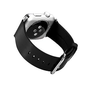 Premsons Genuine Leather Watchband for Apple Watch 38mm (Black)