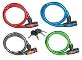 Master Lock 8228EURDPRO Cavo articolato a Chiave 1mxdiamtero18mm Rivestimento Vinile colorato, Nero, Verde, Blu, Rosso