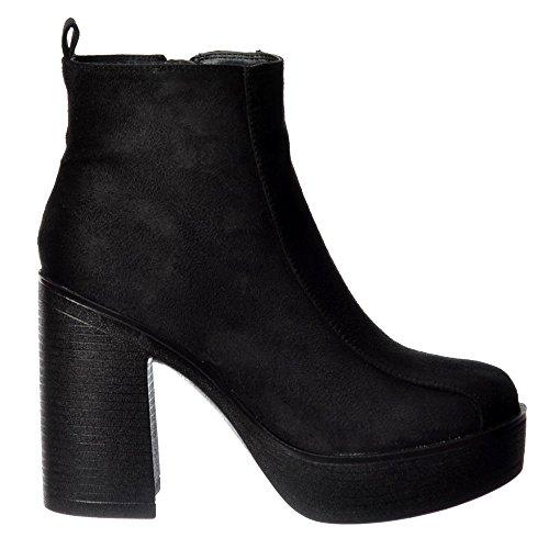 Alto Classico Onlineshoe Femminile Tallonate Chelsea Piattaforma Caviglia Stivali - Nero Camoscio Camoscio Nero