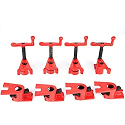 "Cocoarm 3/4"" Serre-joint en Tube 4 Sets Wood Gluing Pipe Clamp Serre-joint à vis Professionnel Carpenter Tool Rouge"