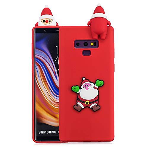 Für Samsung Galaxy Note9 Weihnachtsserien-Kasten, HengJun Weihnachtssankt-Blumen-dünner weicher Silikon-Kasten 3D kreative Art- und Weisekühle Karikatur-nette stoßsichere Gummiabdeckung für Samsung Galaxy Note9 - B rot