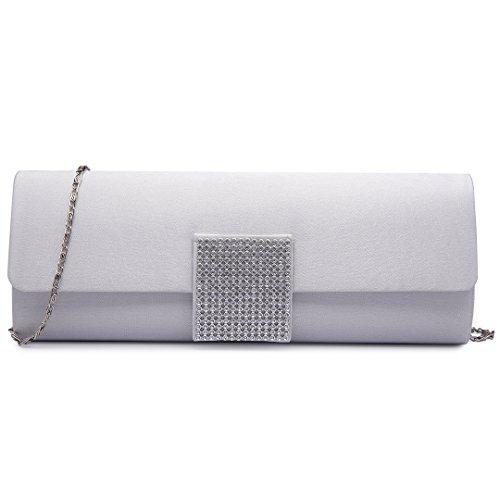 Miss Lulu, pochette da donna con fibbia decorata di diamanti, ideale per matrimoni e serate fuori 6681 Argento