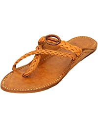 AAUTHORITY Men's Tan Leather Kolhapuri Chappal