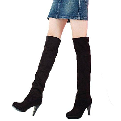Minetom Mujer Botas De Invierno Botas Hasta La Rodilla Tacón Alto Zapatos Calentar Botas De Nieve Negro EU