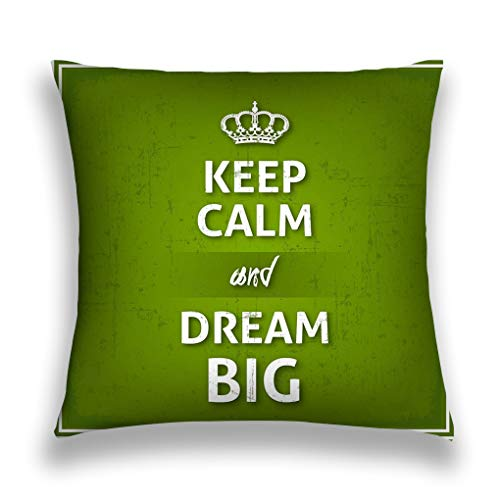 rongxincailiaoke Kissenbezüge Throw Pillow Cover Pillowcase Keep Calm Dream Big Poster modern Style Grunge Overlay Green Background Stars Sofa Home Decorative Cushion Case 18