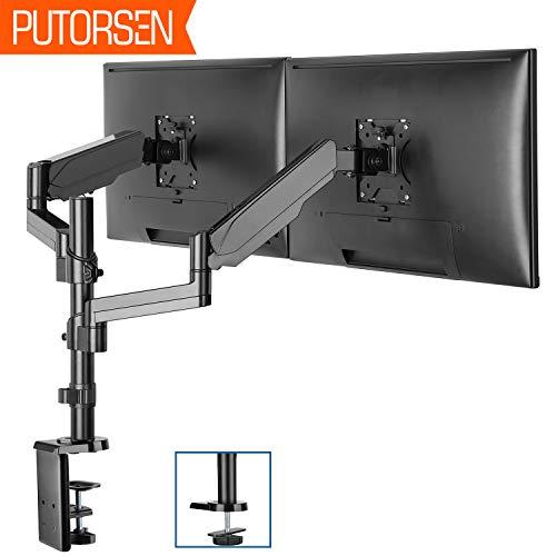 PUTORSEN® Monitor Halterung 2 Monitore, Monitor Tischhalterung Gasdruckfeder - Schwenkbare Neigbare Monitorhalterung für Zwei 17