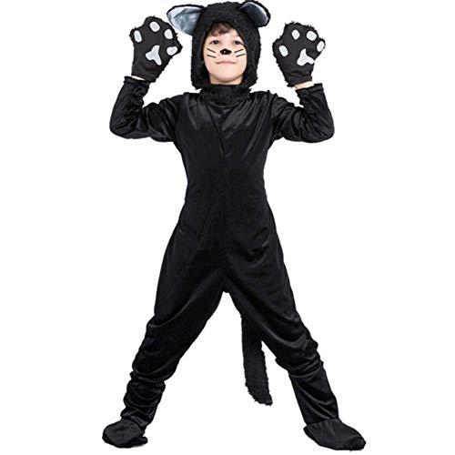 Männliche Kostüm Katze - GUAN Halloween Maskerade Tier Schwarze Katze Performance Kostüm Kind Katze Kostüm Kinderkostüm Bühnenkostüm