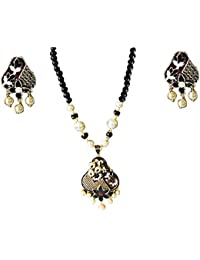 AyA Fashion Designer Traditional Japuri Necklace Set With Black Beads Chain And Beautiful Meenakari Work Pendent...