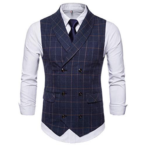 CHENGYANG Herren Weste Slim Fit Zweireiher mit Knöpfen Gilet Business Casual Klassisch Basic Männer Anzugweste für Herren Marine # 2 M