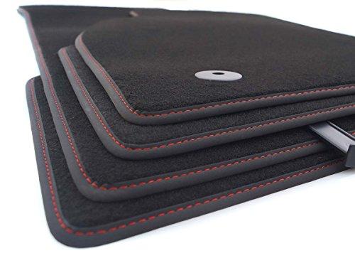 Fußmatten B6 B7 (Rote Ziernaht) Velours Autoteppich 4-teilig Original Qualität Tuning