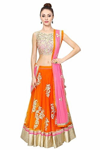 Muta Fashions Net Orange Women Lehenga ( LEHENGA104_Orange )