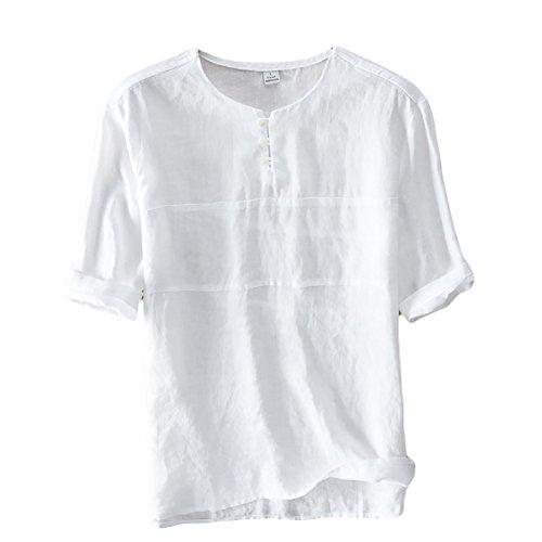 Icegrey Camicia Uomo Camicie di Lino a Maniche Corte con V Collo T-Shirt Pullover Estive Camicia Bianco