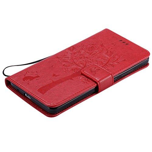 """Fatcatparadise (TM) Custodia a libro, Elegante, Design Vintage, motivo: albero con gatto, in pelle PU, con scomparti per carte di credito e laccio/Cordino, per iPhone 6/6S da 4.7"""", pellicola protettiv rosso"""