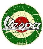 Adesivo rotondo con logo 'Vespa', colore verde