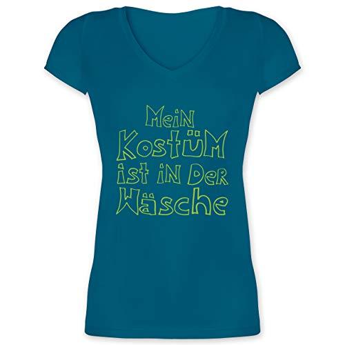 Karneval & Fasching - Mein Kostüm ist in der Wäsche - S - Türkis - XO1525 - Damen T-Shirt mit V-Ausschnitt