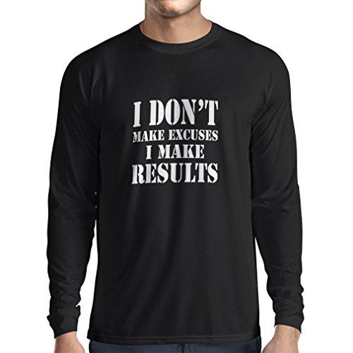 Bären Custom Schwarz T-shirt (Langarm Herren t shirts I make results - Gewicht verlieren schnelle Zitate und Muskelaufbau Motivationsrede (XX-Large Schwarz Weiß))
