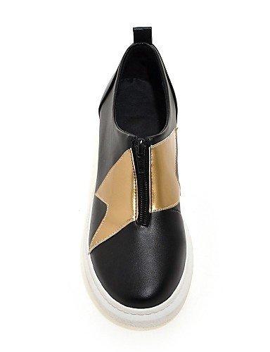 ShangYi Scarpe Donna - Mocassini - Formale / Casual - Punta arrotondata - Piatto - Finta pelle - Nero / Bianco Black