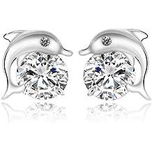 Outstanding® Pendientes de plata del delfín plateado cristal de circón los pernos prisioneros del oído lindo para Mujeres Niñas regalo