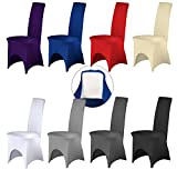 Stuhlhusse Stretch 4 Fußlaschen und vorderem Beinausschnitt elastisch Rot