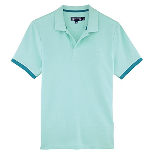 Vilebrequin - Einfarbiges, langärmliges Polohemd aus Baumwollpikee - Jungen Lagune