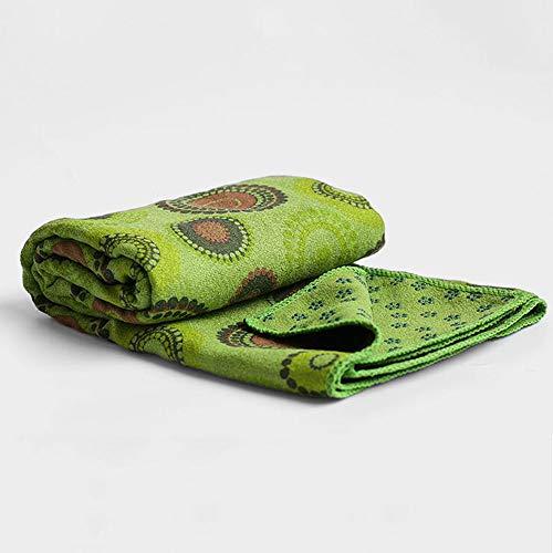 druckte Faser Yoga Decke Erweiterte Dicke Skid Yoga Matte Gewebe Pilates Fitness Matte, Länge 183 cm Breite 66 cm (Muster : Gras-Grün) ()