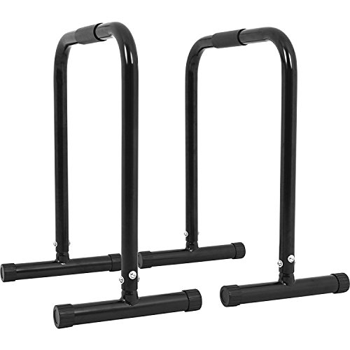 GORILLA SPORTS® Dip Barren 2er Set Schwarz - Push Up Stand Bar bis 200 kg belastbar