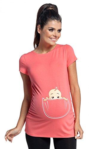 Zeta ville - magliette premaman top divertenti sbirciando bambino - donna - 501c (corallo, it 40/42, s)