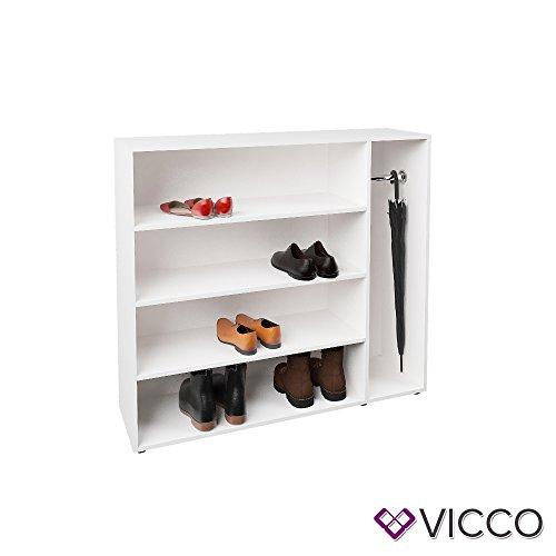 Vicco Schuhregal SCHIRM Schuhschrank Schuhständer Standregal Flur Garderobe (Weiß)