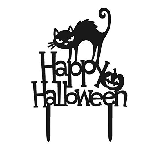 (Tinksky Halloween-Kuchen-Deckel-glücklicher Halloween-Kuchen wählt Acryl-dekorativer Katzen-Kuchen-Deckel für Party-Dekoration)