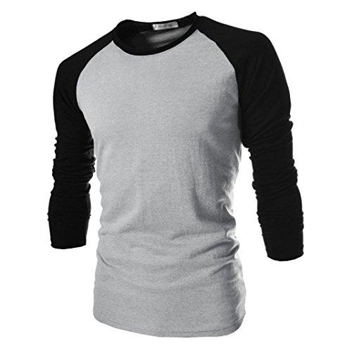 FORH Herren Klassisch Rundhals Slim fit Langarmshirts Leicht Oversize Basic sweatshirt bluse Retro Splice Farbe Shirt T-Shirt aus hochwertiger Baumwoll-Mischung (M, (Kragen Und Manschetten Kostüme Weiße)