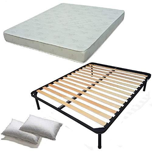 Set 140x190 rete materasso e cuscini kit letto completo letto matrimoniale rete a doghe