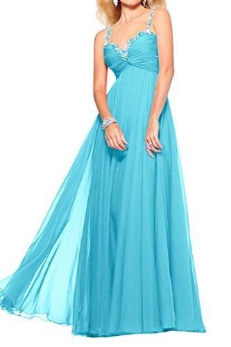 Gorgeous Bride Fashion Traeger Lang Empire Chiffon Tuell Brautjungfernkleid Prom Kleider Abendmode Hell-Blau