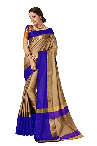Indian Beauty Women's with Blouse Piece Art Silk Saree (Blue N_Beige_Free Size)