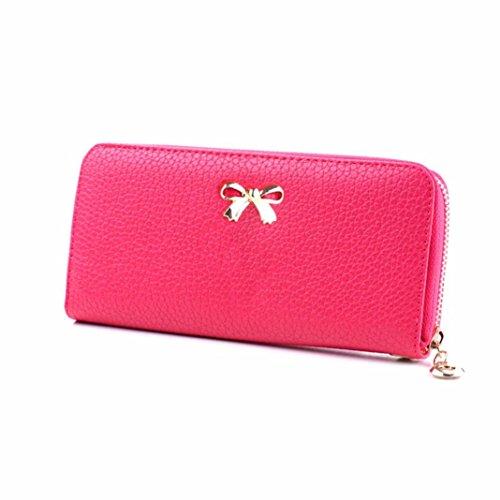 kingko-women-bowknot-zipper-coin-purse-long-wallet-clutch-handbag-ladies-purse-hot-pink
