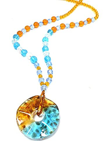 Stained Dichroic Glass Pendant Bead Long Necklace - Blue and Orange (in Organza Bag)