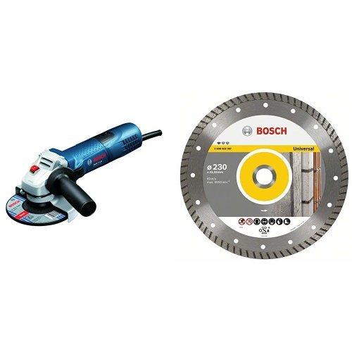 Bosch GWS 7-125 - Amoladora angular (diámetro de 125 mm, 11000 rpm, 720 W, 1,9kg), color azul + Disco tronzador de diamante - Universal Turbo - 125 x 22,23 x 2 x 10 mm