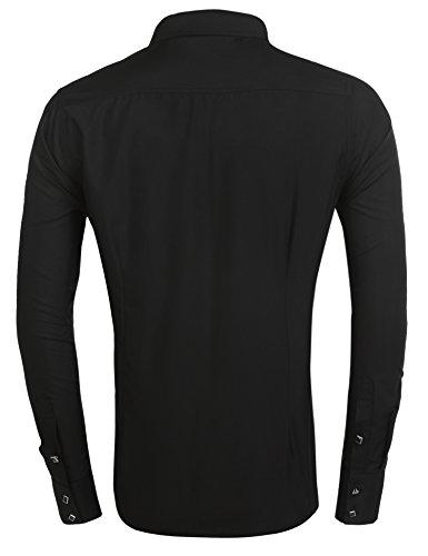 Burlady Herren Hemd regular fit Bügelleicht Langarm-Hemden langarmhemden Freizeit Business 530-Schwarz