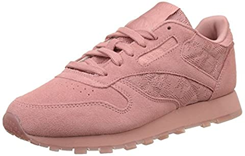Reebok Classic Leather Lace, Baskets Basses Femme, Rose (Sandy Rose/White), 36 EU