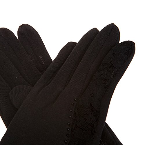 Kenmont femmes d'été de protection solaire UV en plein air 100% coton dentelle Gants de conduite Noir