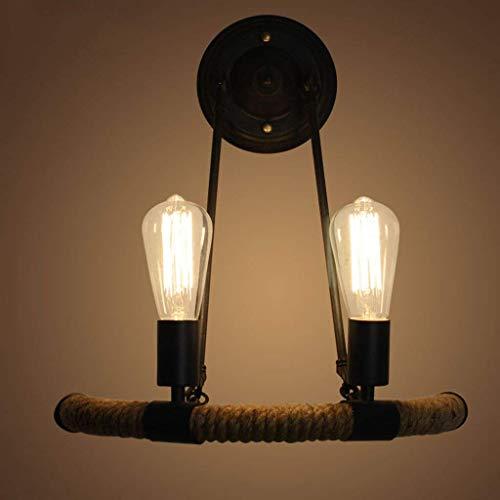 Eisen Wandleuchte, Retro Dekoration Wandleuchte Korridor Gang Licht Solarleuchten Kleid Shop CafÉ Beleuchtung Lampen 2 Kopf E27 Spirale Mund, 42 * 40 Cm Wählen Sie (Größe: 42 * 40 Cm)