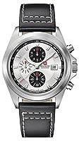 Swiss Military SM33786AEU/H01TXS - Reloj de cuarzo para hombres con esfera de plata y correa negra de cuero de Swiss Military
