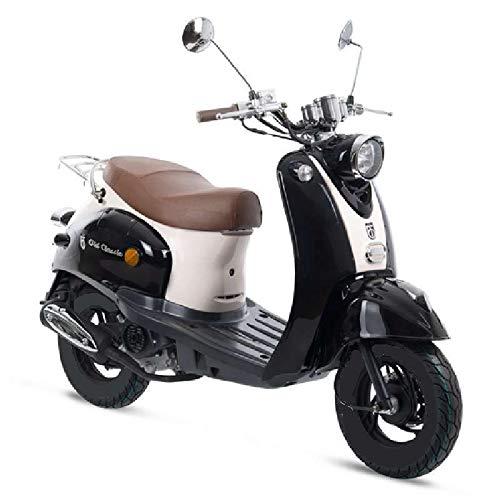 Preisvergleich Produktbild Motorroller GMX 460 Retro Classic 45 km / h schwarz weiß - sparsames 4 Takt 50ccm Mokick mit Euro 4 Abgasnorm