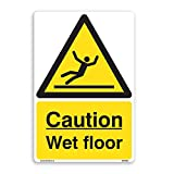 Caution Wet Floor Sign–5PACK [150mm x 200mm] selbstklebend Aufkleber