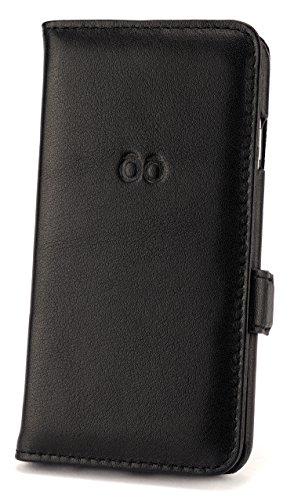 """trooble Echt-Leder-Hülle iPhone 6 -6s schwarz hand-gefertigt luxus book-case - iphone 6-s tasche case cover für Apple iPhone 6 4.7"""" Zoll und iPhone 6-s -leder exquisit mit Karten-fach schwarz"""
