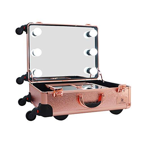 LUVODI Mallette Maquillage à Roulette valise make-up Trolley Comestiques Bijoux avec Grand miroir Lumineux & Ampoules LED Organisateur Maquillage Vayage Malette Coiffure