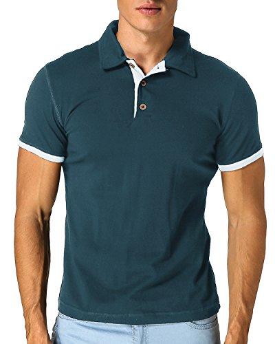 Modchok uomo polo maglietta t-shirt manica corta henley classica cotone casual pulsanti blu navy s