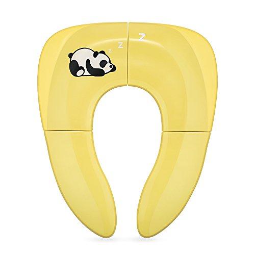 Jerrybox Tapa WC Plegable para Niños, Amarillo, Asiento Inodoro Reductor Infantil como Protector, Orinal de Bebé con Dibujos, Compacto y Portátil para Viajes